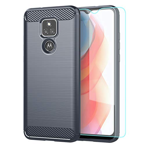 Moto G Play 2021 Case,with HD Screen Protector,Shock-Absorption Flexible TPU Bumper Cove Soft Rubber Protective Case for Motorola Moto G Play 2021 (Gray Brushed TPU)