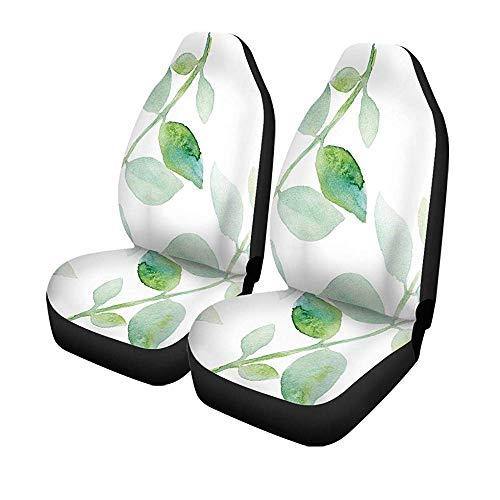 Beth-D set met 2 autostoelhoezen, motief aquarel, groene bladeren, op de voorzijde, aquarel, kruk, automatisch, universeel, stoelbeschermer 14-17 inch