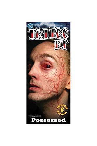 Tinsley Transfers Possessed - Besessener Klebe-Tattoo FX - Kostüm-Zubehör für Halloween, Karneval & Motto-Party