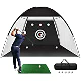 Golf Practice Net, 10x7ft Golf Hitting Training Aids Nets with Target and Carry Bag for Backyard Driving Chipping - 1 Golf Mat -5 Golf Balls - 1 Golf Tees- Men Kids Indoor Outdoor Sports Game