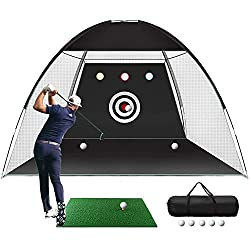 ⛳5-in-1 Hitting Net Set: Come with golf hitting net,1pcs golf tees,5pcs golf balls, grass pad and carry case.The practice net features 1 large target and 3 chipping target pockets to practice your skills like Swing, Hitting and Chipping, etc. An outs...