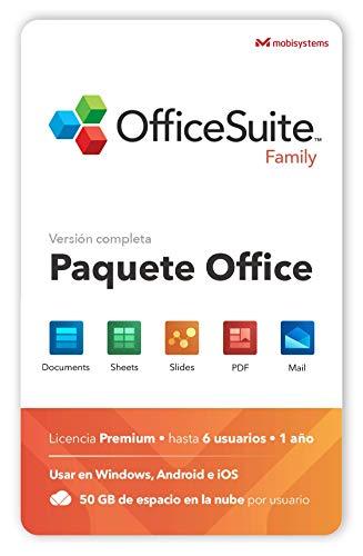 OfficeSuite Family - Documents, Sheets, Slides, PDF, Mail & Calendar - 6 Usuarios - 1 Año de Licencia para 1 Windows y 2 Dispositivos...