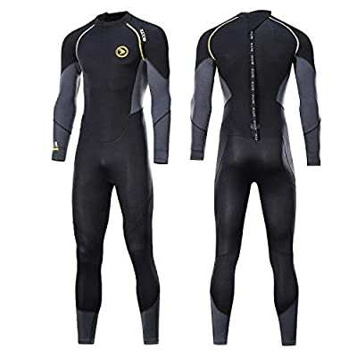 zcco Mens Full Suit Scuba Diving Thermal Wetsuit, 3mm Neoprene Wetsuits (Small)