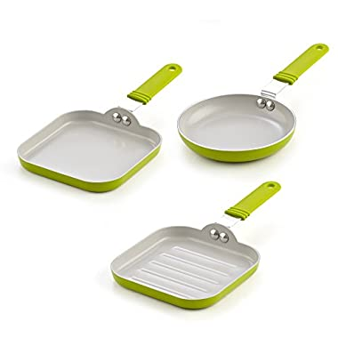Cook N Home 02583 3 Piece Nonstick Ceramic Mini Fry Griddle, Grill Pan Set 3, 5.5-Inch, Green