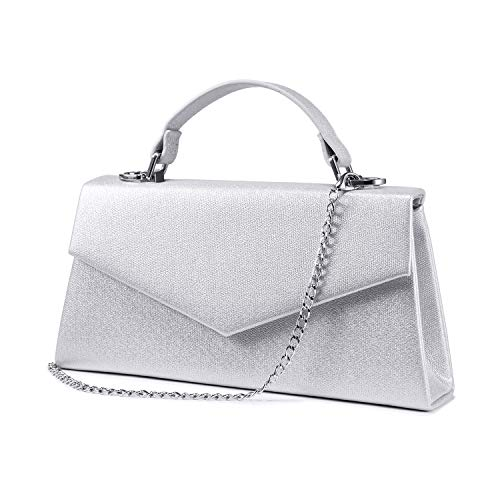 🌼CLASSIC EVENING PURSE: Elegant and classic look. This evening clutch purses covered sparkling glitter that brings glamour to your formal dress; Magnetic-flap closure for easy access to stored contents; Detachable Silver Chain to convert from handbag...