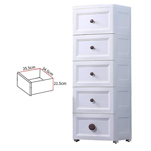 Drawers 5 Schubladen aus Kunststoff Lagerschrank, Haushalt Fach-Art Kindern Snack Spielzeug-Speicher-Kabinett-Baby Einfach Kleiderschrank 30x40x124cm ctg (Color : White)