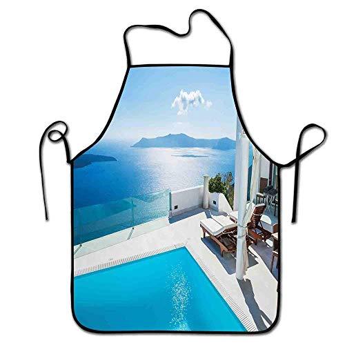 Not Applicable Haus Dekor Schürze Grill Männer Architektur auf Santorini Island Griechenland Schwimmbad Blau Weiß Hotel Meerblick Schürze Party