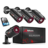 ANRAN 4 Channel 1080P Home Security Camera System 4ch CCTV DVR Recorder with 1TB Hard Drive 4X Full HD 1080P Surveillance Video Bullet Outdoor Camera IR Night Vision, Motion Alert Easy Remote Access