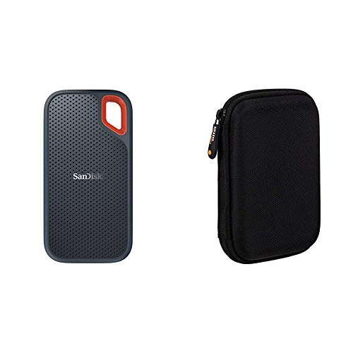 SanDisk Extreme Portable SSD externe Festplatte 2TB (SSD extern 2,5 Zoll, 550MB/s Übertragungsraten, AES-Verschlüsselung,wasser- und staubfest) grau & Amazon Basics Schutzhülle für externe Festplatten