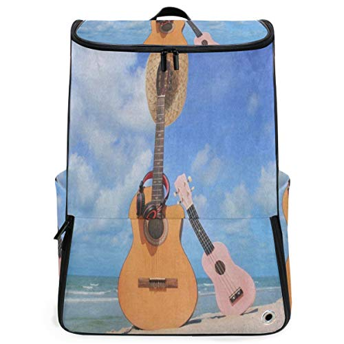 Sweet Brown Guitar Hat Blue Sky Cloud Beach Overnight Backpack College Laptop Bookbag with Shoe Compartment for Men Women