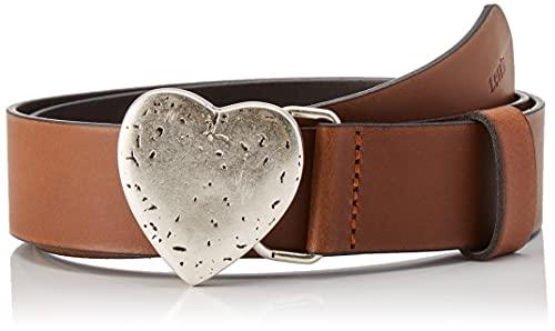 Levi's Heart Plaque Belt Cinturn, Brown, 85 cm Women's
