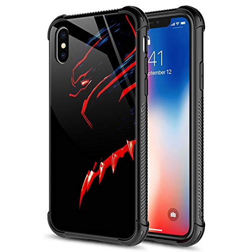 CARLOCA iPhone XR Case,Black Red Panther iPhone XR Cases for Girls Boys,Graphic Design Shockproof Anti-Scratch Drop Protection Case for Apple iPhone XR