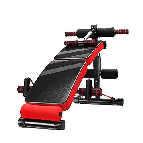 YF-SURINA Equipo de gimnasia para interiores Tablero inclinado de banco plegable rojo, tabla de banco multifuncional para ejercicios abdominales de entrenamiento ajustable, gimnasio multifuncional (p