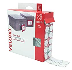Image: VELCRO Brand - Sticky Back Hook and Loop Fasteners | Perfect for Home or Office | 3/4in Coins | Pack of 200 | White