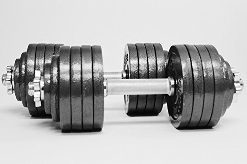 TELK Adjustable Dumbbells, Available for 45, 65, 105 to 200 lbs (Total 105lb (52.5lb x 2) + Chrome Barbell)