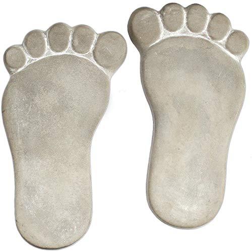 matches21 XXL Trittsteine große Füße MEGA Fuß-Abdrücke 1 Paar Tritt-Steine Beton für den Garten 35x20 cm Tretsteine Dekosteine Deko