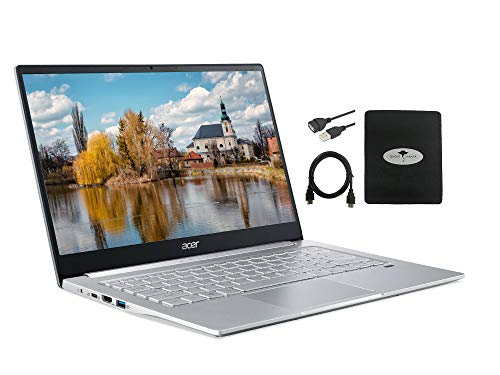 2021 Acer Swift 3 Laptop 14' FHD Ultra-Thin, 6-Core AMD Ryzen 5 4500U (Up to 4.0GHz), 8GB RAM, 1TB SSD, Fingerprint Reader, Back-lit KB, WiFi 6 802.11ax Win 10 w/Ghost Manta Accessories