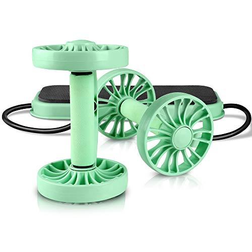 Kazoen, rullo multifunzione per addominali a casa, corda di trazione, doppia rotella, rullo per allenamento fitness, esercizi per tutto il corpo, attrezzatura per bodybuilding (verde)