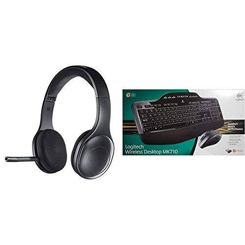 Logitech H800 Kabelloses Bluetooth Headset, Hi-Definition Stereo-Kopfhörer mit Noise-Cancelling Mikrofon,PC/Mac/Tablet/Mobilgeräte + Logitech MK710 Kabelloses Tastatur-Maus-Set, QWERTZ-Layout