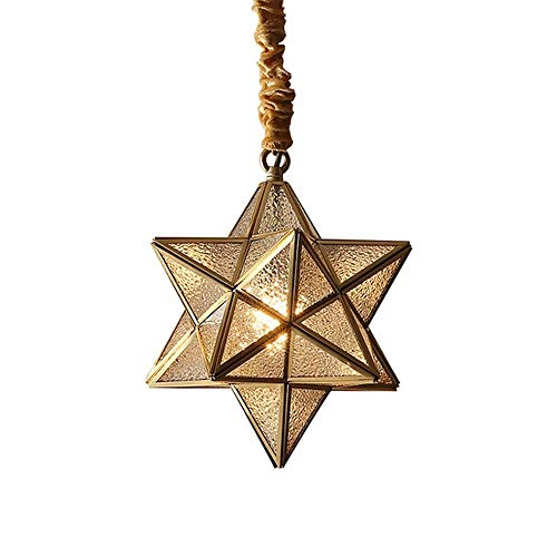 Ceiling Light Fixtures Flush Mount Simple Five-Pointed Star All-Copper Bar Small Chandelier Glass Hall Corridor Aisle Entrance Courtyard Droplight E27