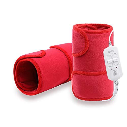 GHzzY Genouillère chauffante électrique pour Genou, Mollet, Jambe et Bras - Appareil de Massage du Genou pour Le soulagement des blessures, rhumatismes et Muscles (Rouge)