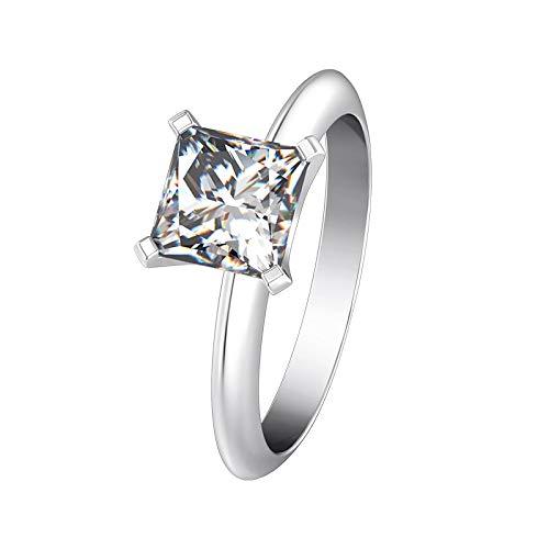BQZB Anillo Glamour Princess Cut Clear I-J Diamantes sintéticos Anillo de Mujer S925 Anillo de Plata esterlina Oro Blanco Color Solitario Compromiso