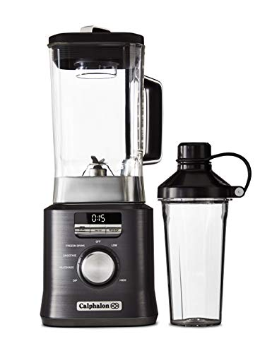 Calphalon Auto-Speed 68 Oz Blender with Blend-N-Go Smoothie Cup and BPA-free Tritan Jar | 1100-Watt Base, Dark Stainless Steel