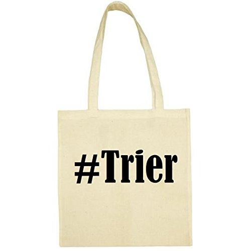 Tasche #Trier Größe 38x42 Farbe Natur Druck Schwarz