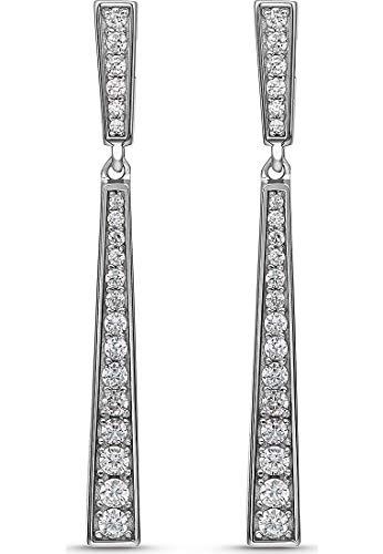 JETTE Damen-Ohrhänger Tear 925er Silber rhodiniert 40 Zirkonia One Size 87745945
