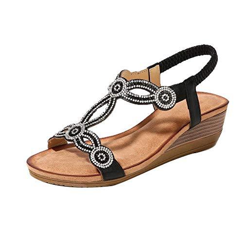 YEBIRAL Damen Sandalen Keilabsatz Boho Strass Strand Schuhe Sommerschuh Peep Toe Elegant High Heels Wedges Schuhe(35 EU,Schwarz)