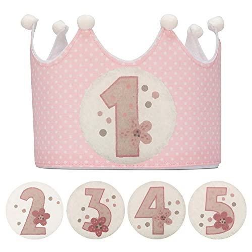 Kembilove Corona Cumpleaños – Corona Primer Cumpleaños niño – Fiesta de cumpleaños Smash Cake de 1-5 Años Intercambiables Lunares Rosa – Regalos Personalizados