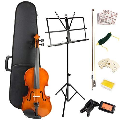 Windsor VIOLINSK44 - Kit para violín (incluye funda, arco, 2 x rosina, 2 x puente, cuerdas de repuesto, sintonizador digital, soporte de música y reposamuñecas)