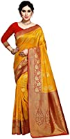 Amazon Brand - Anarva Women's Kanjivaram Silk Blend Saree With Unstitched Blouse Piece.