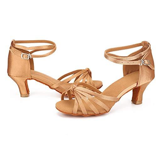 VESI – Damen Schuhe Standard/Latein 5cm/7cm Absatz Beige Knoten 39 - 3