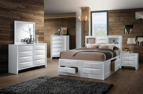 4pc Modern White Color Finish Eastern King Size Storage Bed Bedroom...