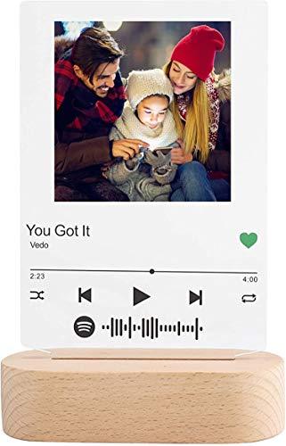 Luz De Placa De Foto De Código Spotify Personalizada Luz De Noche De Arte De Vidrio Spotify Personalizada Placa De Canción De Vidrio DIY Luz De Señal De Música Acrílica Para Amantes Y Amigos