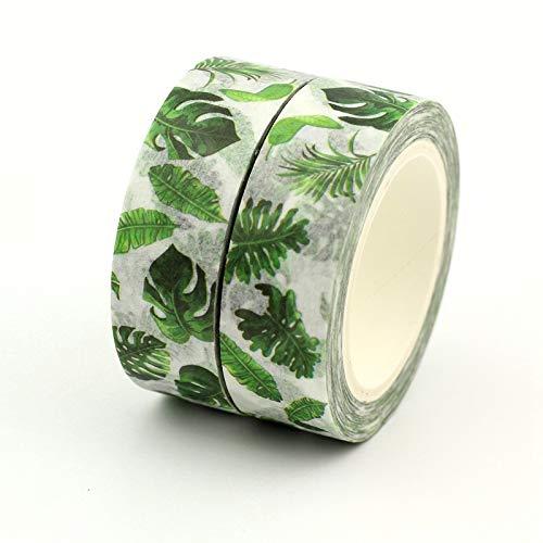 2PCS / lot Hot Tropical Palm Blätter Dekorative Washi Klebeband Papier-DIY Scrapbooking Adhesive Maskenband 1.5cm * 10m / Rolle Schulmaterial Gaodpz