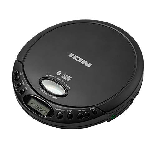 ION Audio CD GO - Tragbarer Retro CD-Player mit Kopfhörern und Bluetooth-Verbindung für Streaming an Bluetooth-Lautsprecher und Bluetooth-Kopfhörer