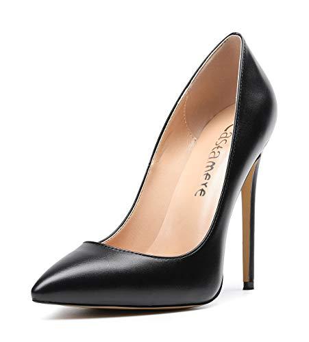 CASTAMERE Zapatos de Tacón Puntiagudas Mujer Tacón de Aguja 12CM Alto Tacón Negro PU Zapatos EU 40