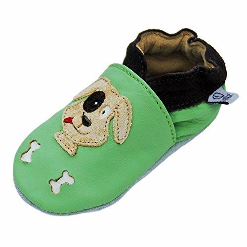 Lappade Rex grün Wildleder Dino Geckos Löwe Lederpuschen Hausschuhe Krabbelschuhe Baby Lauflernschuhe mit Ledersohle (Gr. 19/20 EU M, Art. 72)