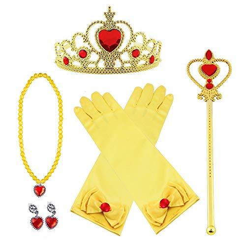 Vicloon Principessa Accessori, Nuovi Costumi da Principessa Set di 8 Pezzi Dono da Tiara/Guanti/Bacchetta Magica/ Anello/orecchino/Collana da 3 a 9 Anni (Giallo)
