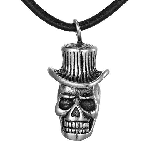 DonDon Collar de Cuero 50 cm para Hombre y Colgante Calavera con Cilindro de Acero Inoxidable en Bolsa de Regalo