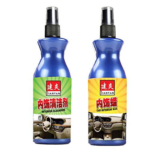 Auto Wachs Yusell Auto Leder Sitzpolitur Pflege Wachs Panel Dashboard Cleaner Tool Zubehör 2PC 100ML