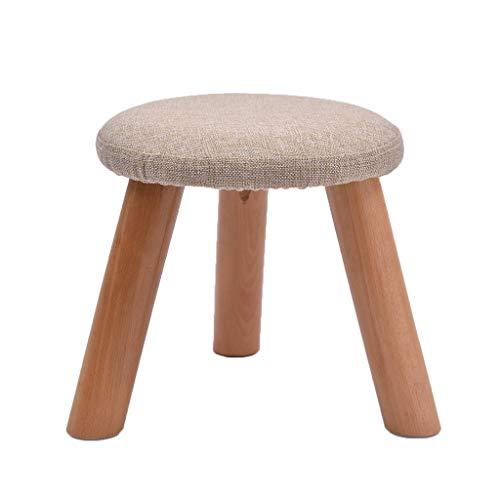 stool Sofá hogar pequeño redondo de algodón y lino simple creativo sala de estar pequeño banco perezoso zapatos sillas (color: gris claro, tamaño: M)