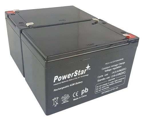 PowerStar Batteries for Pride Mobility Go Go Scooter / 12v 15ah