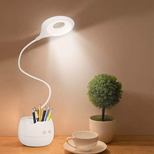 YingStar Lámpara Escritorio LED Luz Flexo LED Escritorio Infantil Lámpara de mesa 4 Brillos Luz Lectura de Escritorio Lámpara para Mesa Regulable Cuidado Ocular Carga USB Luz Soporte Bolígrafo Móvil