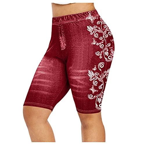 Pantalones Cortos Mujer Vaqueros con Estampado Talla Grande Pantalón Vaquero Corto con Bolsillos Shorts Elásticos para Mujer Leggings Casual Verano Mallas Ideal para Vida Diaria,Cita,Fiesta