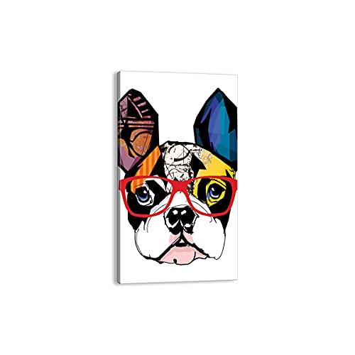 Cuadro sobre lienzo - Impresión de Imagen - Perro Gafas colorido dogo -...