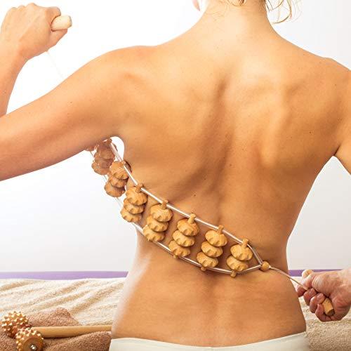 Tuuli Accessories Massage Massagegerät Rücken Massageroller Rückenmassagegerät mit Grif Roller aus Holz 120 cm (Rollfläche 40 x 7 cm)