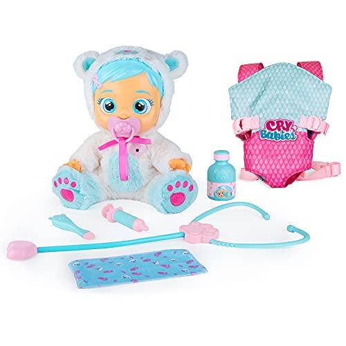 Bebés Llorones Kristal está malita + portabebé - Pack de 1 muñeca interactiva que llora y se pone enferma y 1 portabebé